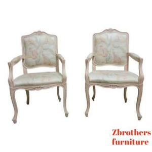 Vintage Pair French Carved Casa Stradivari Dining Room Fireside Lounge Arm Chair