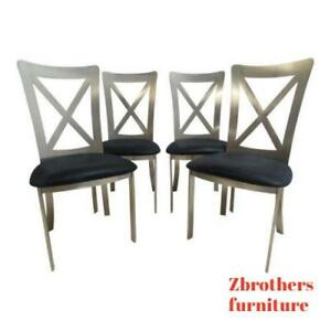 4 Vintage Stainless Industrial Dining Room Side Chairs