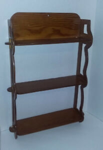 Vtg Real Wood Wall Shelf Hand Carved Peg Sides Light Colored Stain 23 X 14