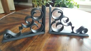 Vintage Mid Century Wide Black Scroll Shelf Brackets Funky Retro