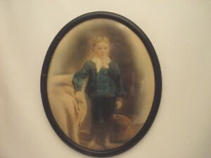 18 X 15 Oval Frame Antique Picture Of Standing Boy