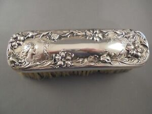 Old Antique Sterling Silver Foster Bailey Art Nouveau Woman Bird Rectang Brush