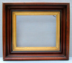 Lg Antique 19th C Walnut Deep Shadowbox Frame W Black Inner Trim