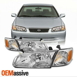 oe Style for 2000 2001 Toyota Camry Chrome Bezel Headlight Lamps Assembly