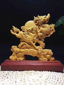 9 China Natural Boxwood Wood Carved Fengshui Zodiac Dragon Horse Sculpture