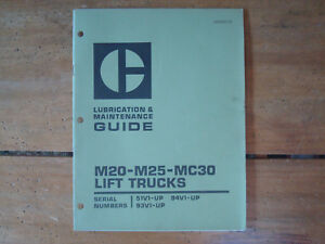 Caterpillar M20 m25 mc30 Lift Trucks Lubrication Maintenance Guide