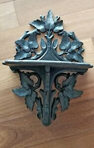 Antique Victorian Hand Carved Black Forest Style Clock Or Candle Wall Shelf