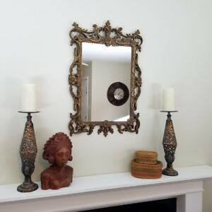 Vintage Gold Turner Ornate Wall Mirror Molded Plastic Resin Baroque Hollywood
