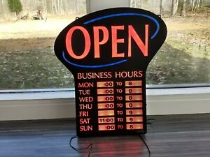 Newon Led Lighted open Sign Business Hours W Adapter Model 3686