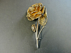 Beautiful Rare Antique 800 Silver German Floral Filigree Pin Brooch 3 1 2