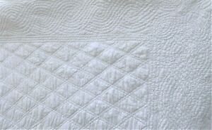 Antique French Hand Quilted Wedding White Provence Quilt 54 X 66 137 X 167 5 Cm