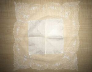 Antique Vintage Wedding Bridal Lace Hankie Hankerchief