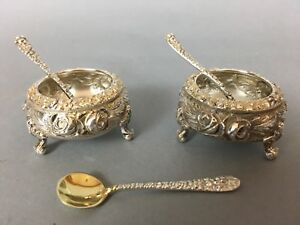 Stieff Rose Sterling Open Salt Cellar Silver Repousse Footed Set W Spoons 3 6oz