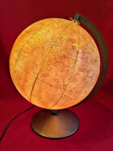 Vintage Replogle Comprehensive Globe Lighted World Globe On Metal Base