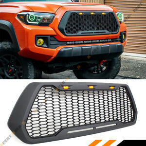 For 2016 19 Toyota Tacoma Offroad Front Hood Honeycomb Mesh Grill Led Cab Light