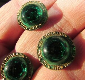 Antique Buttons Emerald Green Glass Painted Gilt Facet Shank Dome Lot 3 Button
