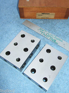 Mitutoyo 1 2 3 Blocks W case Toolmaker Machinist Grind Mill Inspection Quality