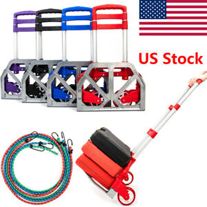 Portable Aluminium Cart Collapsible Dolly Push Truck Hand Fold Trolley Luggage