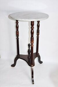 Vintage Antique Solid Marble Top Table End Table Side Table Solid Wood