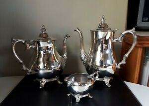 Vintage International Silver Company Tea Coffee Pots With Milk Or Cream Bowl