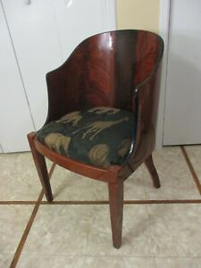 Vintage Mid Century Modern Wooden Barrel Back Arm Chair Sheraton Style W Extra S