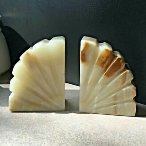 Vintage Pair Ofmid Century Fan Shaped Alabaster Book Ends
