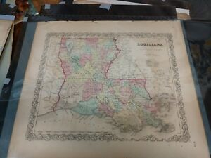 Antique 1855 Louisiana Map Hand Colored From Colton S Atlas Original