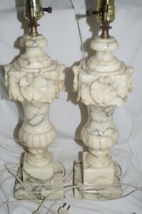 Pair Antique Vintage Marble Heavy Carved Alabaster Lamps Italy