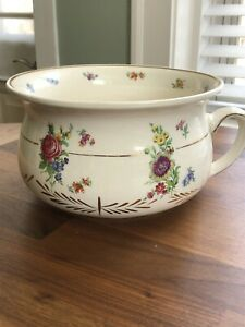 Antique Porcelain Chamber Pot 10 X 5 5 Floral With Gold Trim Made In England