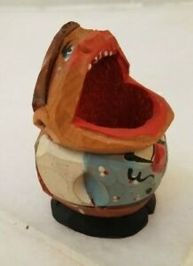 Vintage Hand Carved Wooden Toothpick Holder Big Mouth Man