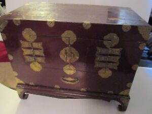 Wood Wine Color Lacquer Liquor Chest Box Brass Fittings 30 W Stand Korean