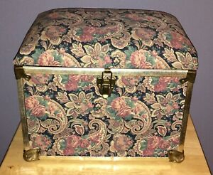 Small Chest Keepsake Sewing Padded Latch Closure Box Paisley Vintage