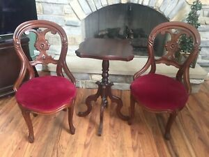 Antique Parlor Chairs And Table Set Red Velvet Upholstery