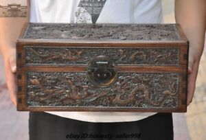 Chinese Huanghuali Wood Carved Dragon Phoenix Totem Storage Boxes Treasure Chest