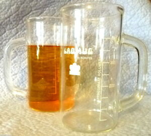 Set Of 2 Kontes 400 Ml Clear Glass Handled Labmug Lab Mugs 4 Coffee Or Chemistry