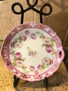 10 Porcelain Open Handled Cake Plate Unmarked Pink White W Roses 10 Diameter