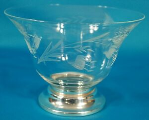 Sterling Silver Footed Etching Glass Bowl