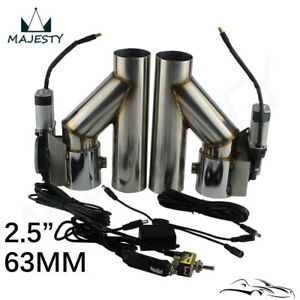 2 5 63mm Dual Electric Exhaust Cutout Dump Bypass Valve W Switch Control Kit