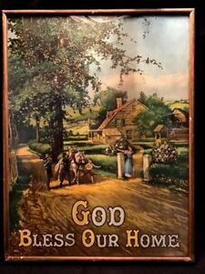 Antique Victorian God Bless Our Home Family Children Horse Framed Art Lithograph