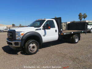 2013 Ford F550 12 Flatbed Stake Bed Tommy Lift Truck 6 7l V8 Diesel A t Bidadoo