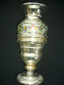 Antique Silver Mercury Glass Vase 7 1 4 Tall Classic With Floral Design Painted