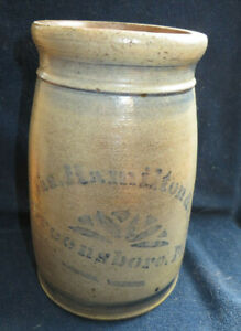 Jas Hamilton Co Greensboro Pa Cobalt Decorated Stoneware Canning Jar Crock