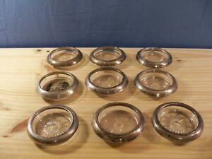 Lot Of 9 Sterling Silver Rimmed Glass Coasters Different Designs