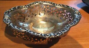 Antique Sterling Silver Perforated Small Bowl Unusual Shape