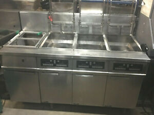 Fry Master Three Bank Gas Fryer W Dump Station Filtration System On Casters