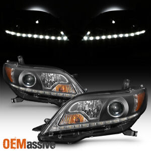 upgrade Fits 11 17 Toyota Sienna Black Led Drl Projector Headlights Headlamp