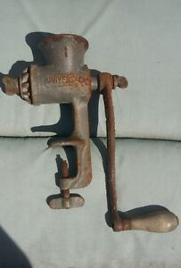 Meat Grinder Universal 1 Hand Crank With Clamp Rusty But Works Vtg