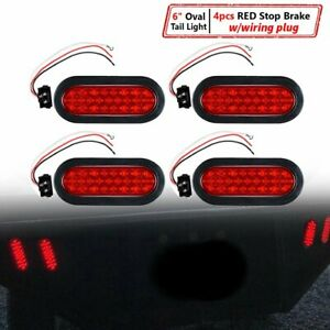 4x 6 Oval 24 led Trailer Tail Light Red Stop Brake Tow Truck Rv Universal 12v