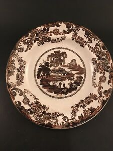 Antique Brown Transferware Plate Chinoiserie Two Fishermen Figures Staffordshire