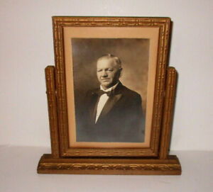 Antique Swivel Swing Wood Dresser Picture Frame W Id D Photo Vintage